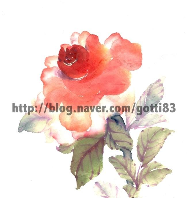 동양화 화실 필의 장미꽃 일러스트 네이버 블로그