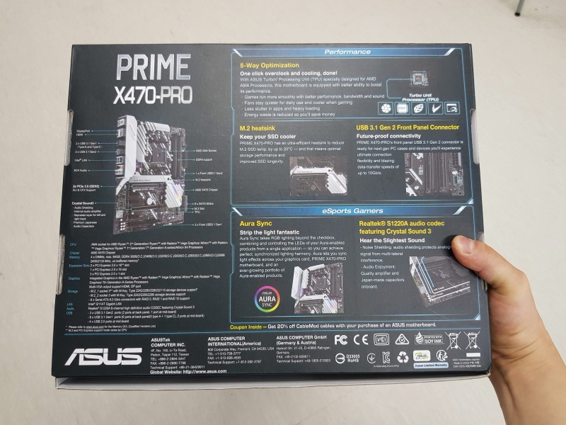 ASUS X470 PRIME-PRO STCOM (D O C P  자동 램오버 기능 최고