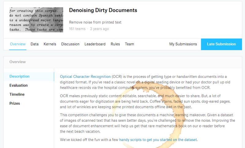 캐글(Kaggle) 예제 - 케라스(Keras)를 이용한 디노이징 오토